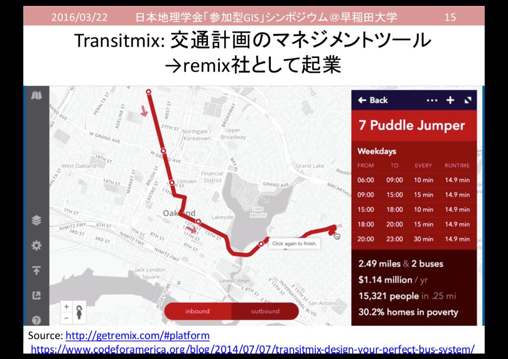 2016/03/22 日本地理学会「参加型GIS」シンポジウム@早稲田大学 15 Transi...