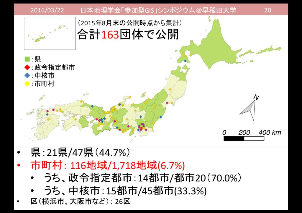 2016/03/22 日本地理学会「参加型GIS」シンポジウム@早稲田大学 20 • 県:21...