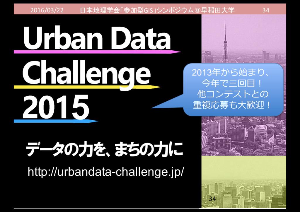 2016/03/22 日本地理学会「参加型GIS」シンポジウム@早稲田大学 34 2013年年...