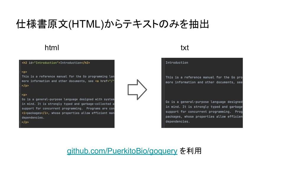 仕様書原文(HTML)からテキストのみを抽出 html txt github.com/Puer...