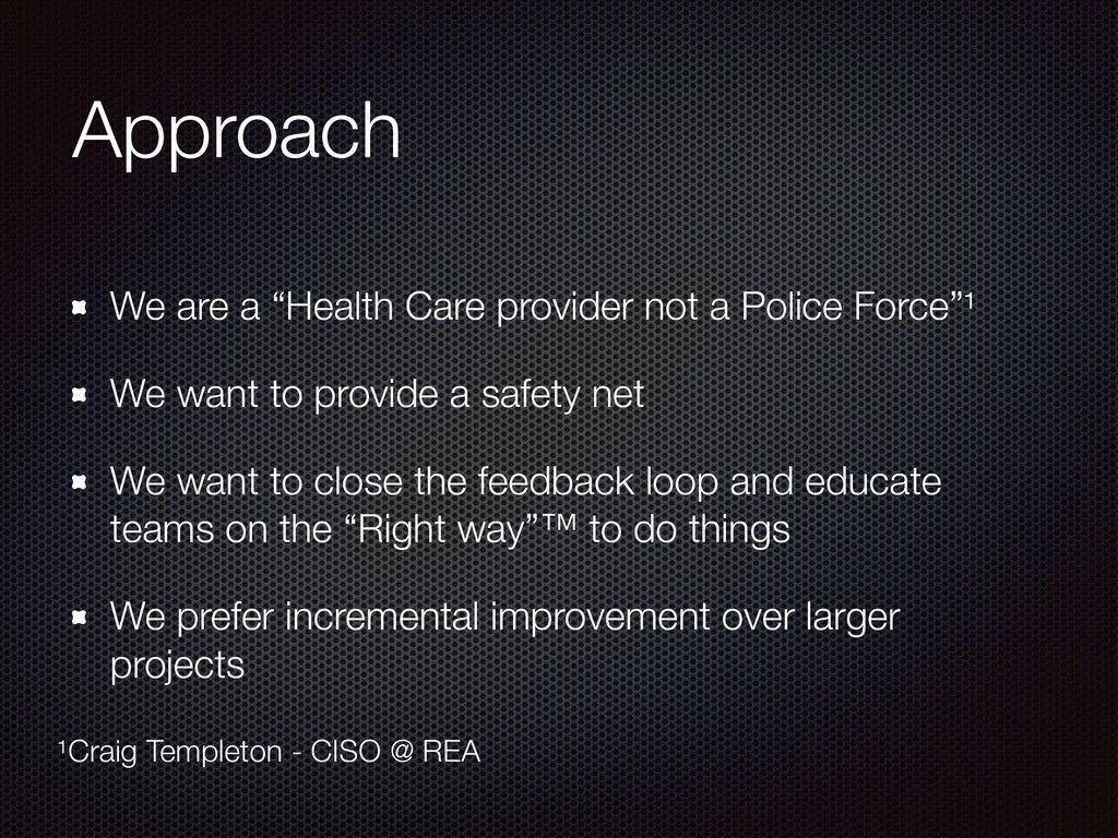"Approach We are a ""Health Care provider not a P..."