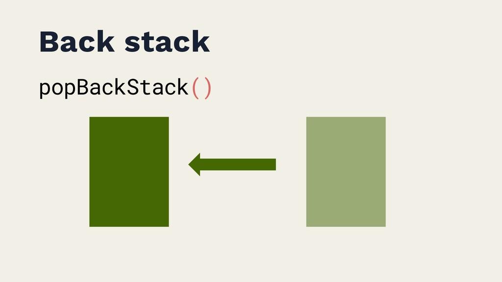 Back stack popBackStack()