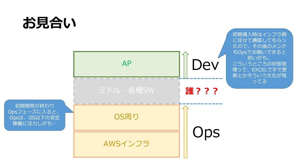 お見合い AP ミドル・各種SW OS周り AWSインフラ Dev Ops 誰??? 初期導入...