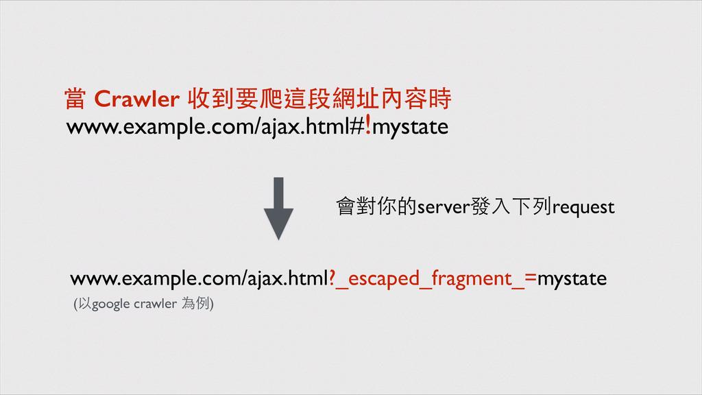 www.example.com/ajax.html#!mystate 當 Crawler 收到...