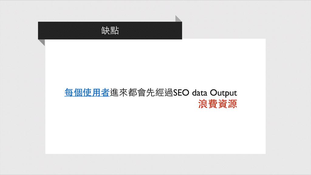 每個使⽤用者進來都會先經過SEO data Output 缺點 浪費資源