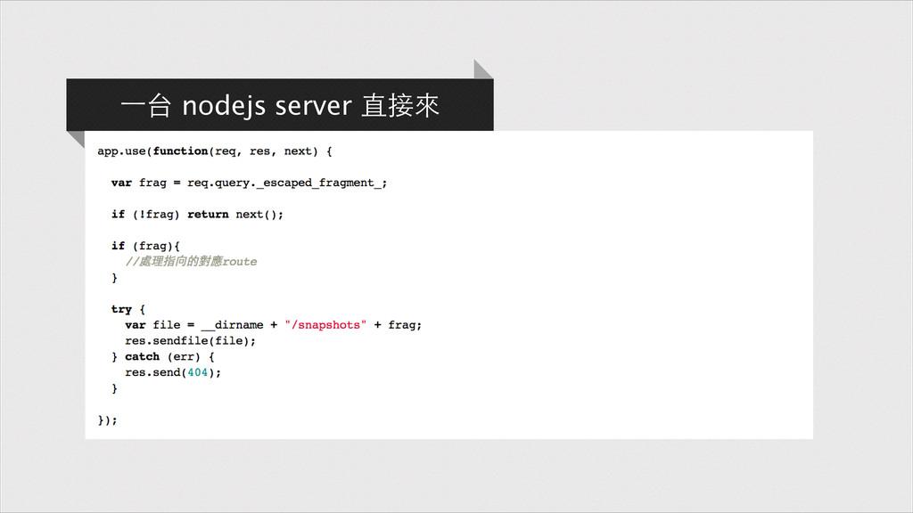 ⼀一台 nodejs server 直接來