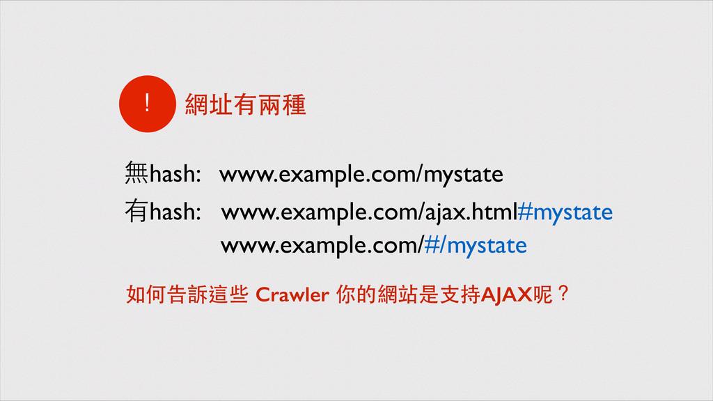 www.example.com/ajax.html#mystate 網址有兩種 ! www.e...