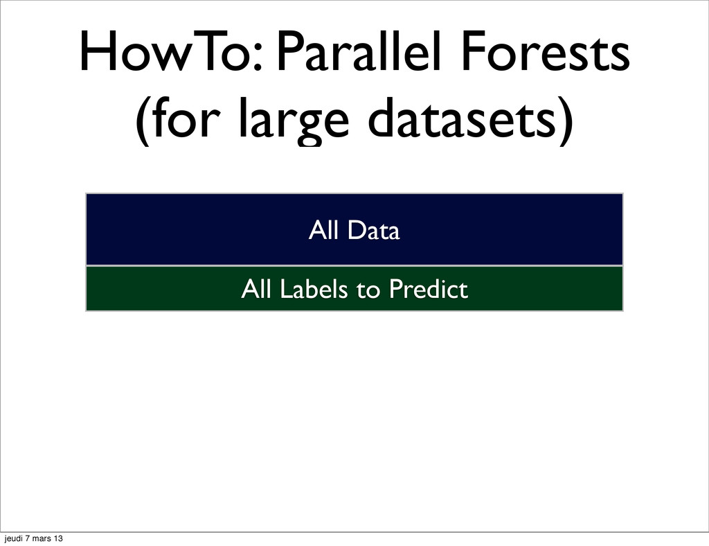 HowTo: Parallel Forests (for large datasets) Al...