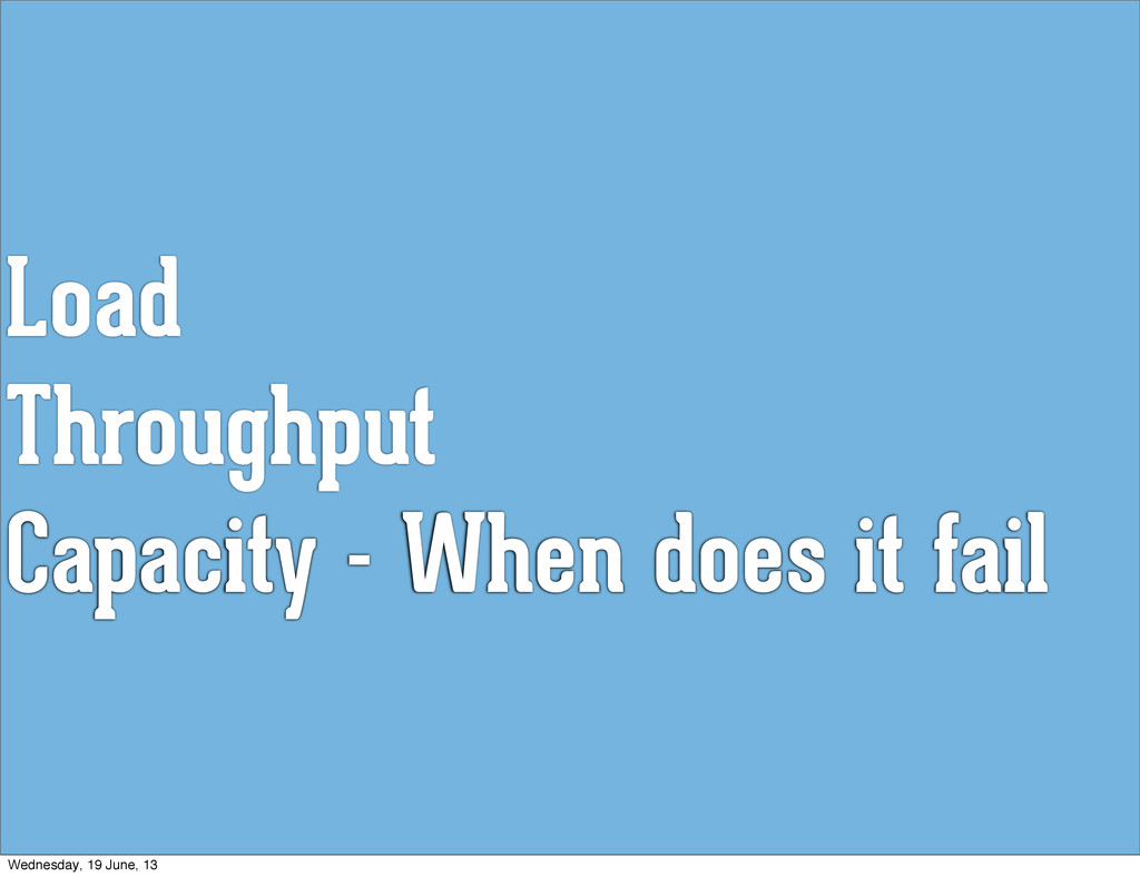 Load Throughput Capacity - When does it fail We...