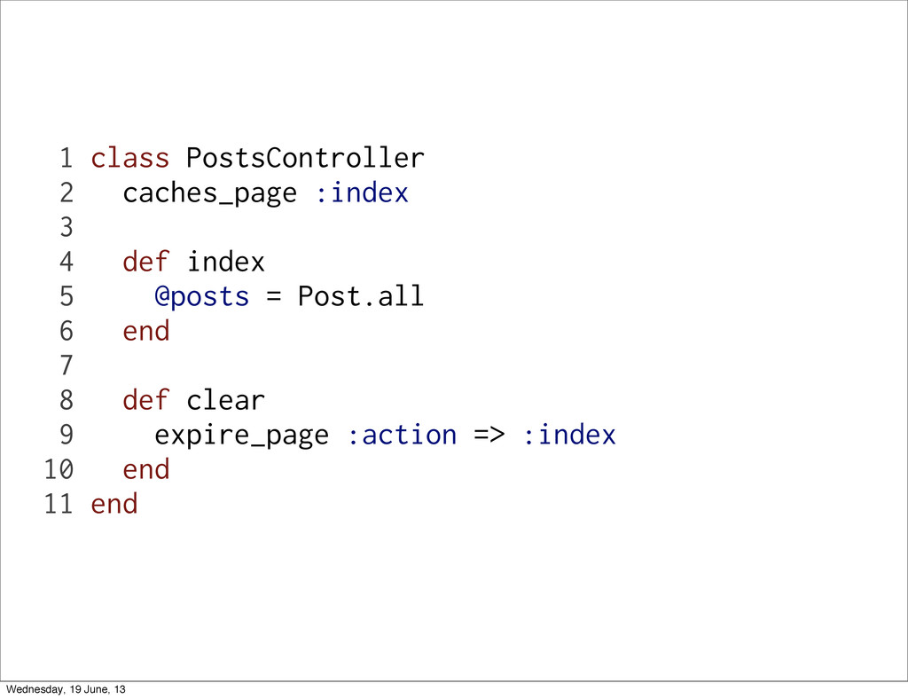 1 class PostsController 2 caches_page :index 3 ...