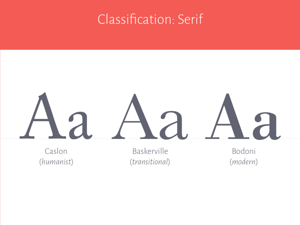 Classification: Serif Aa Aa Baskerville (transit...