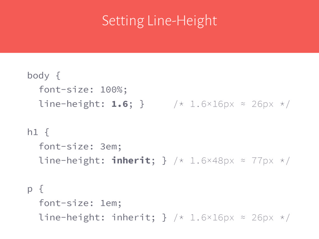 Setting Line-Height body { font-size: 100%; lin...