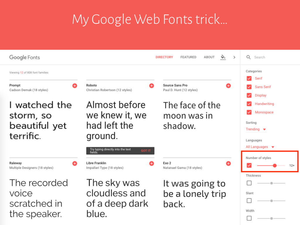 My Google Web Fonts trick…