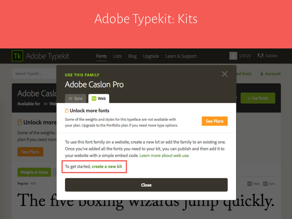 Adobe Typekit: Kits