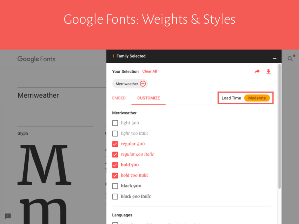 Google Fonts: Weights & Styles