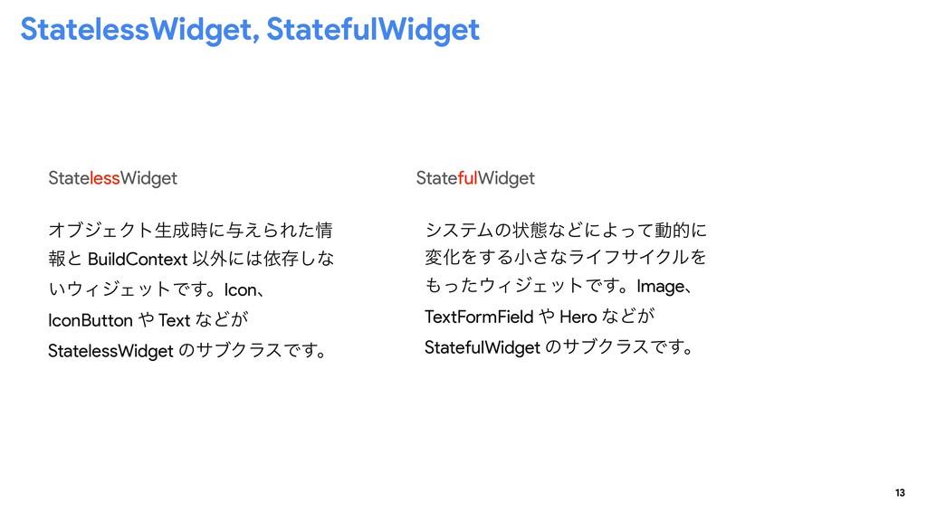 13 StatelessWidget, StatefulWidget StatelessWid...