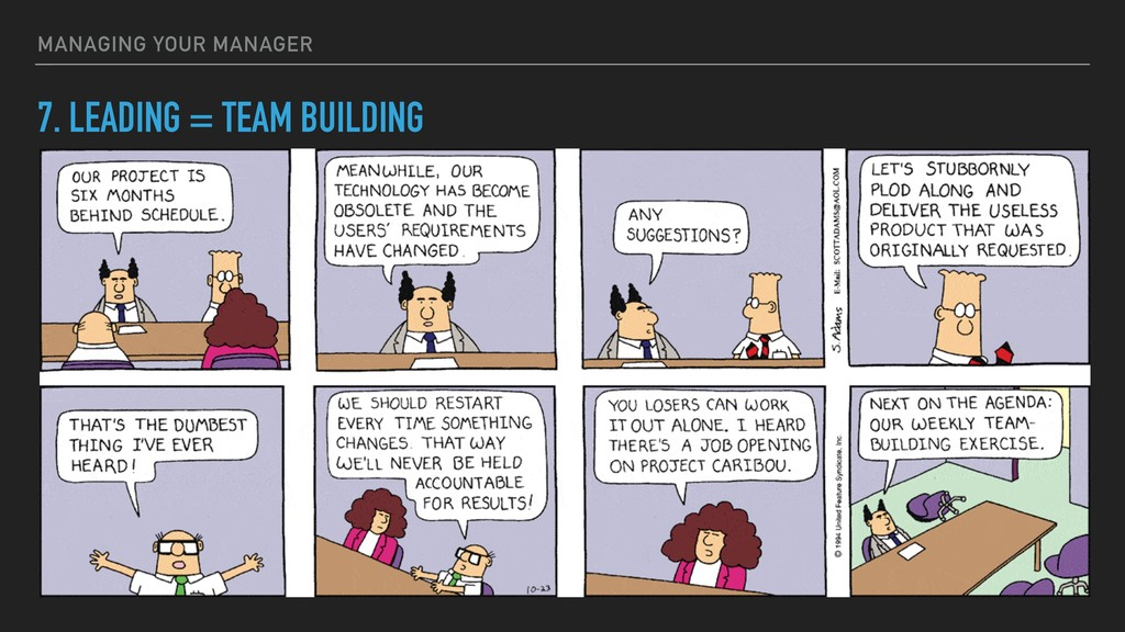 7. LEADING = TEAM BUILDING MANAGING YOUR MANAGER