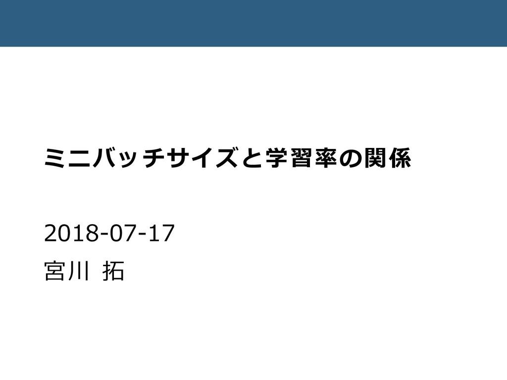 ミニバッチサイズと学習率の関係 2018-07-17 宮川 拓