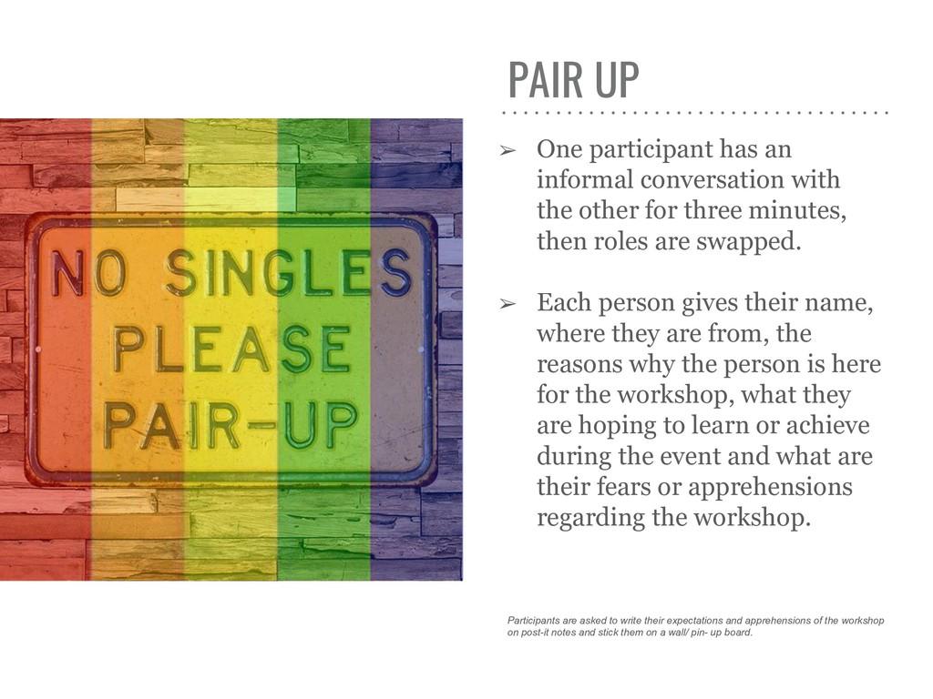 PAIR UP ➢ One participant has an informal conve...