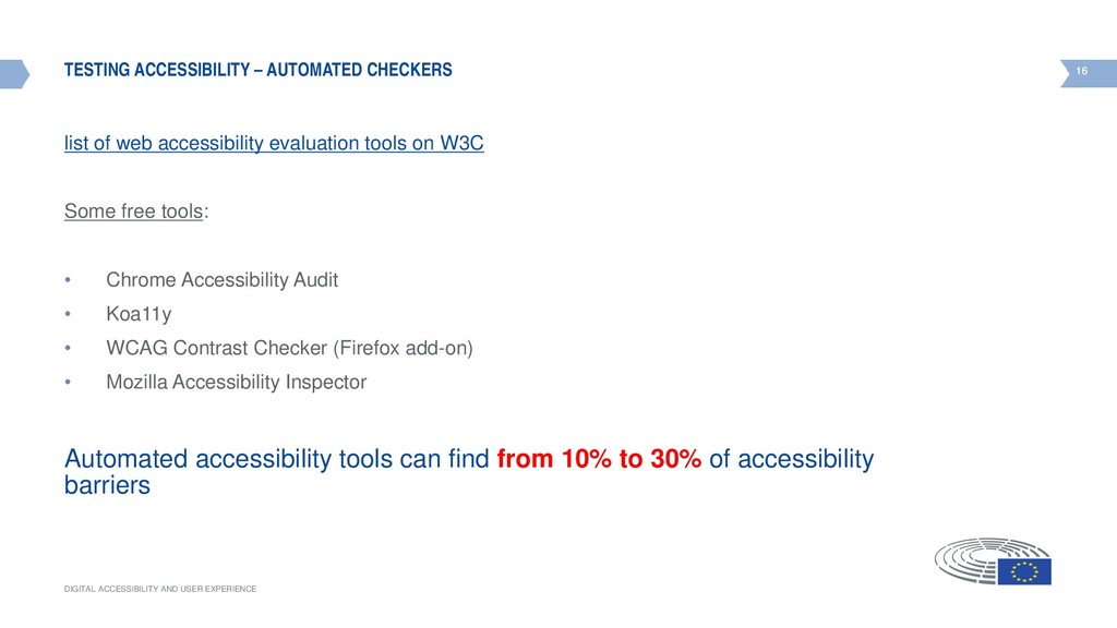 16 DIGITAL ACCESSIBILITY AND USER EXPERIENCE 16...