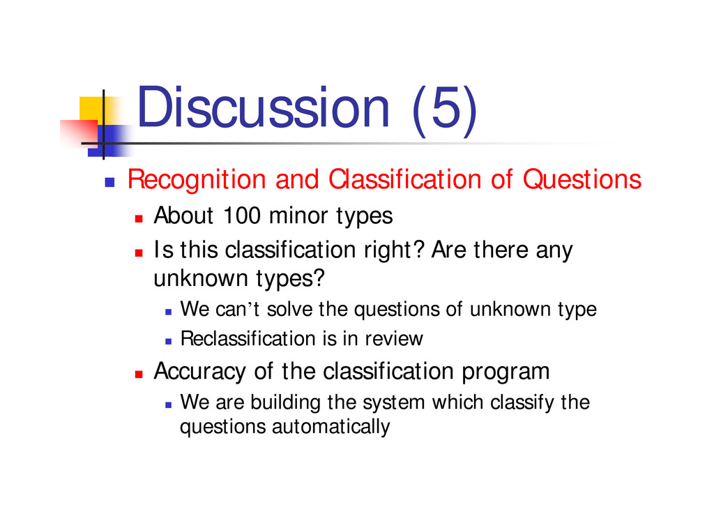 """Discussion (5) """" Recognition and Classification..."""