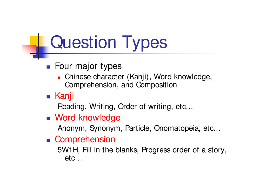 """Question Types """" Four major types """" Chinese cha..."""