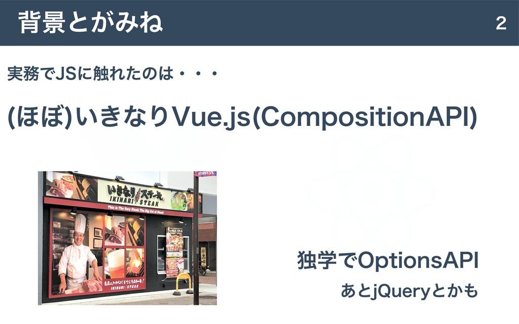 2 背景とがみね (ほぼ)いきなりVue.js(CompositionAPI) 独学でOpti...