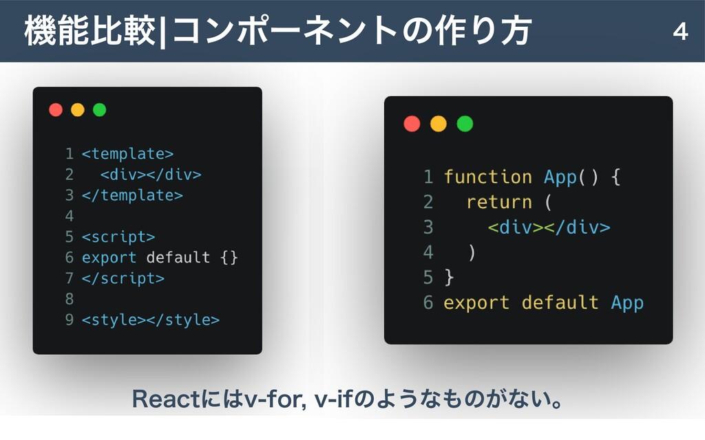 4 機能⽐較|コンポーネントの作り⽅ Reactにはv-for, v-ifのようなものがない。