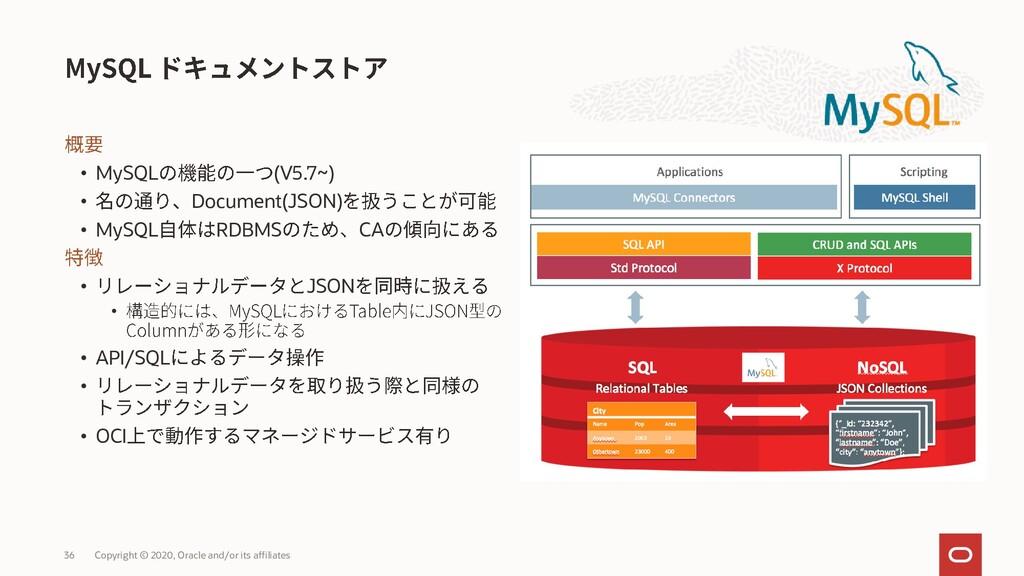 • MySQL (V5.7~) • Document(JSON) • MySQL RDBMS ...