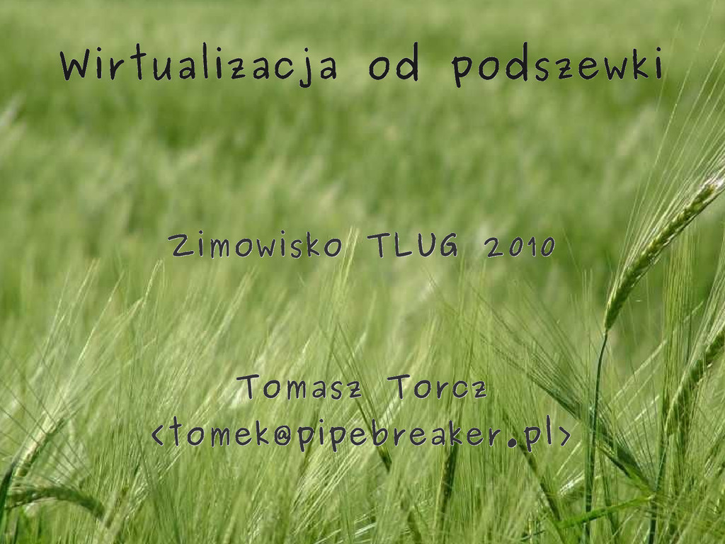 Wirtualizacja od podszewki Zimowisko TLUG 2010 ...