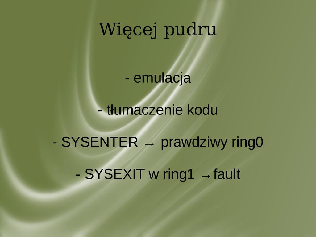 Więcej pudru - emulacja - tłumaczenie kodu - SY...