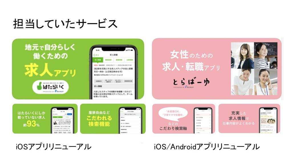 iOSアプリリニューアル iOS/Androidアプリリニューアル 担当していたサービス