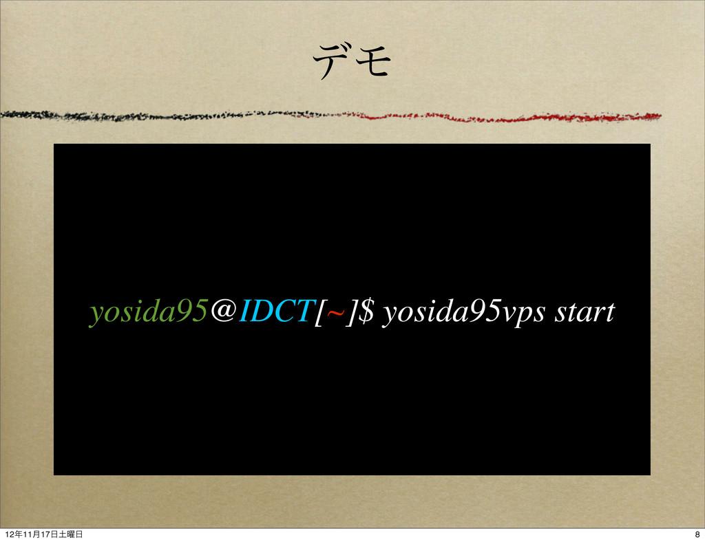 σϞ yosida95@IDCT[~]$ yosida95vps start 8 1211݄...