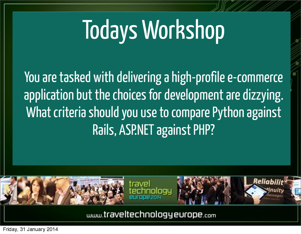 Todays Workshop You are tasked with delivering ...