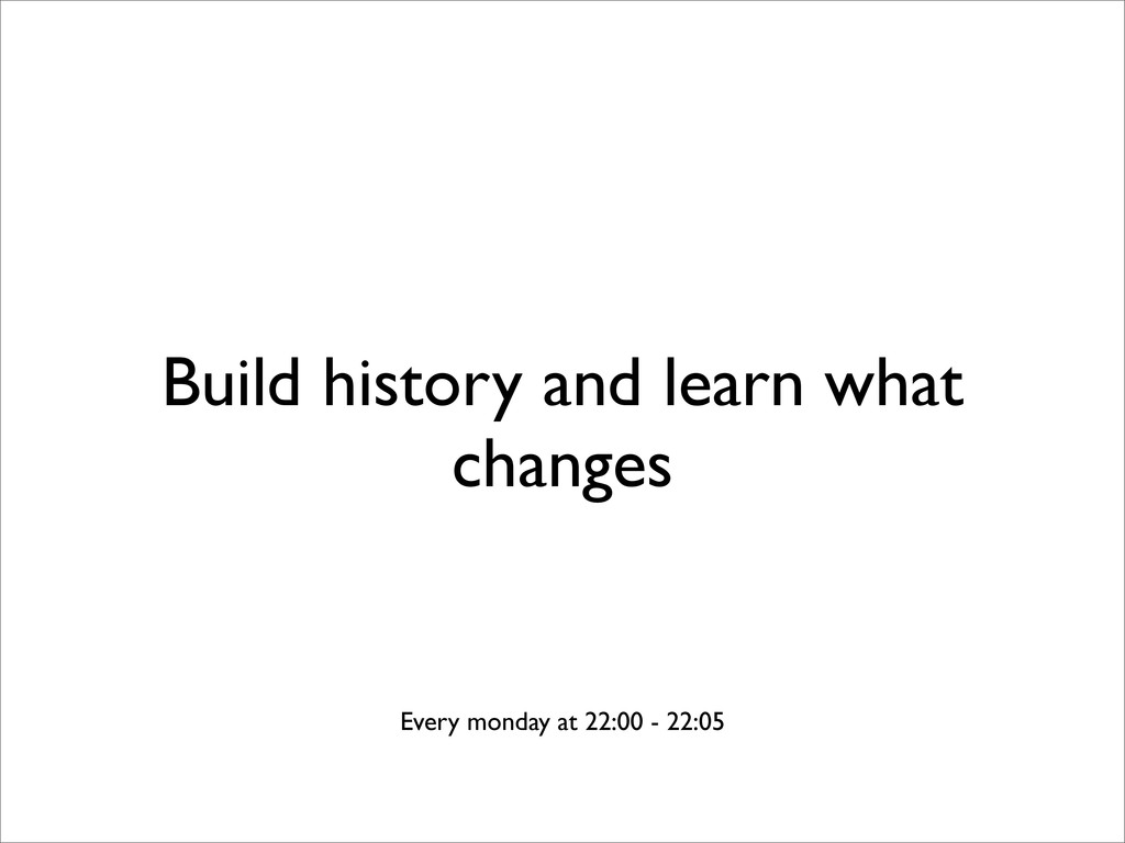 Build history and learn what changes Every mond...