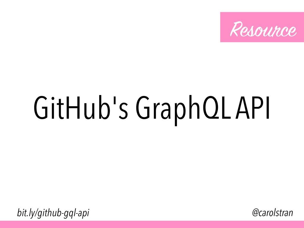 GitHub's GraphQL API Resource @carolstran bit.l...