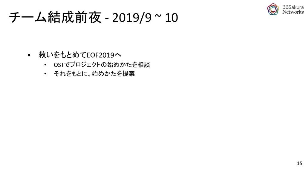 チーム結成前夜 - 2019/9 ~ 10 15 • 救いをもとめてEOF2019へ • OS...