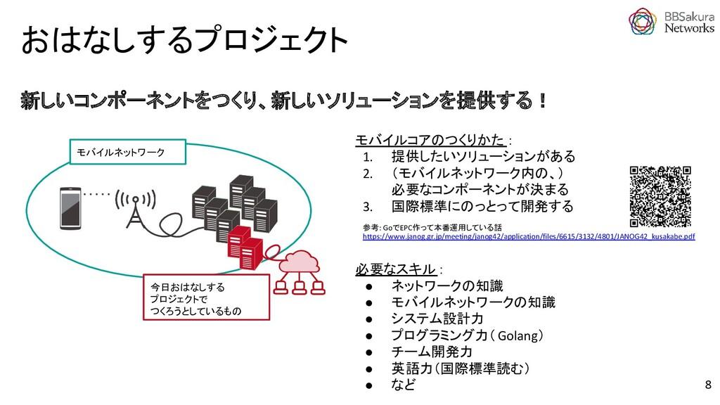 おはなしするプロジェクト 必要なスキル: ● ネットワークの知識 ● モバイルネットワークの知...