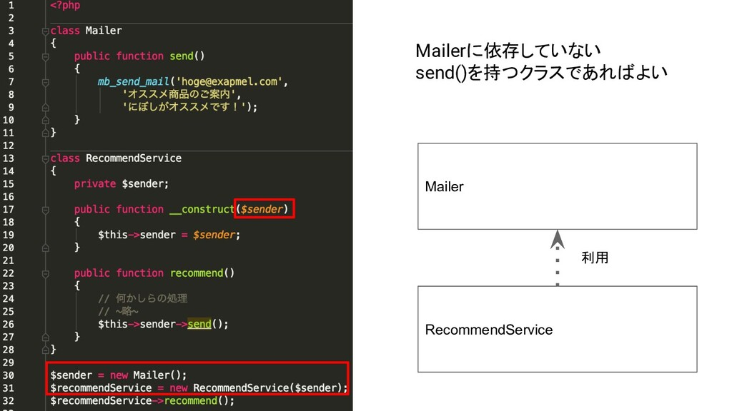 Mailer RecommendService Mailerに依存していない send()を持...