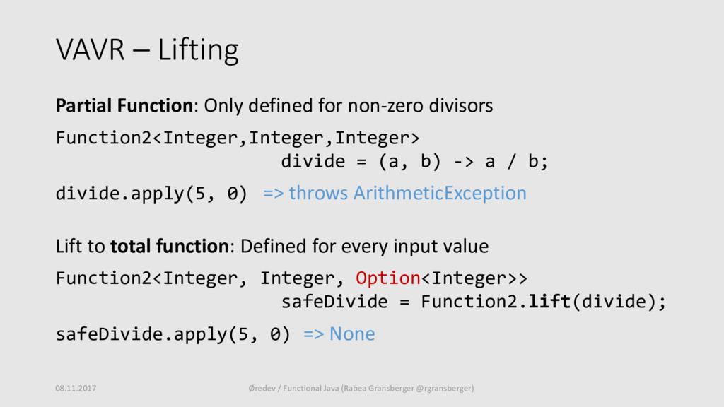 VAVR – Lifting Partial Function: Only defined f...