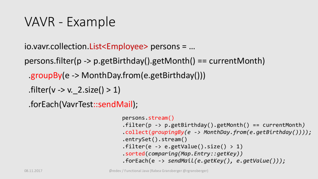 VAVR - Example io.vavr.collection.List<Employee...