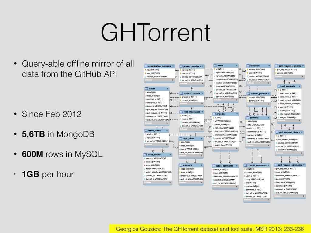 GHTorrent • Query-able offline mirror of all dat...
