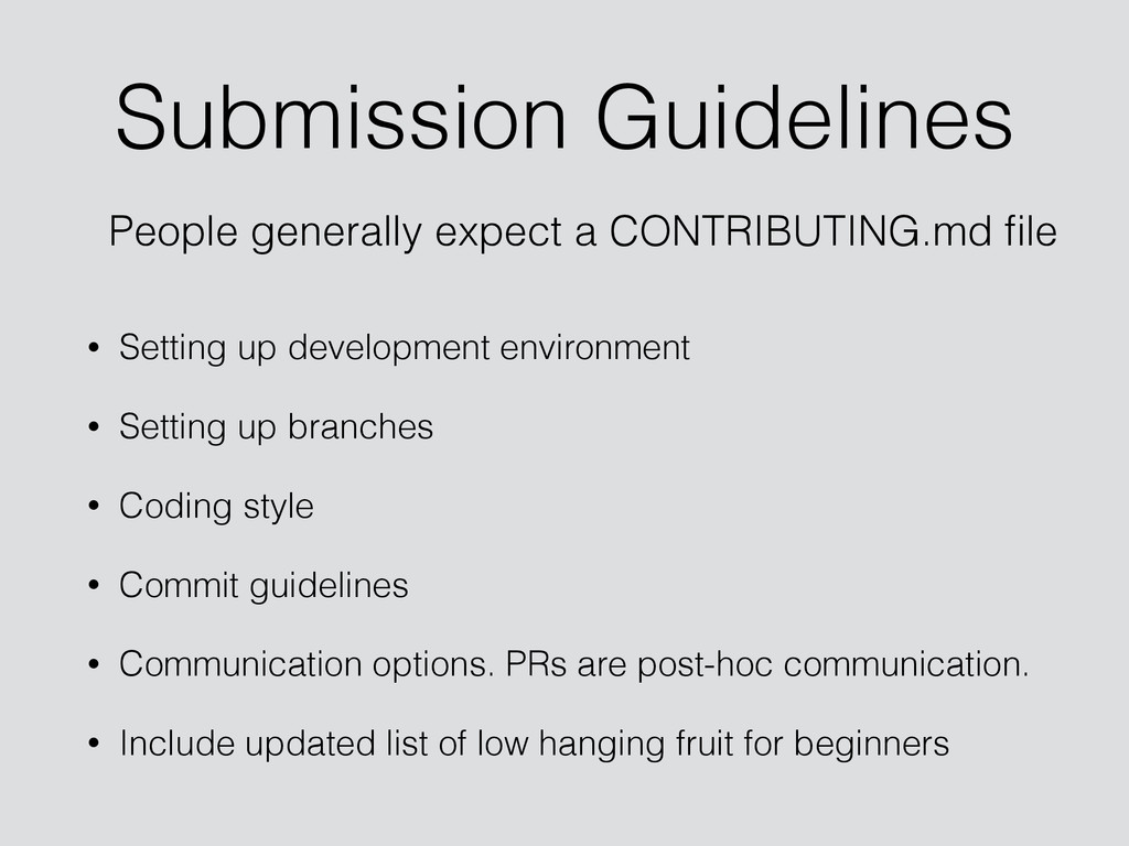 Submission Guidelines • Setting up development ...