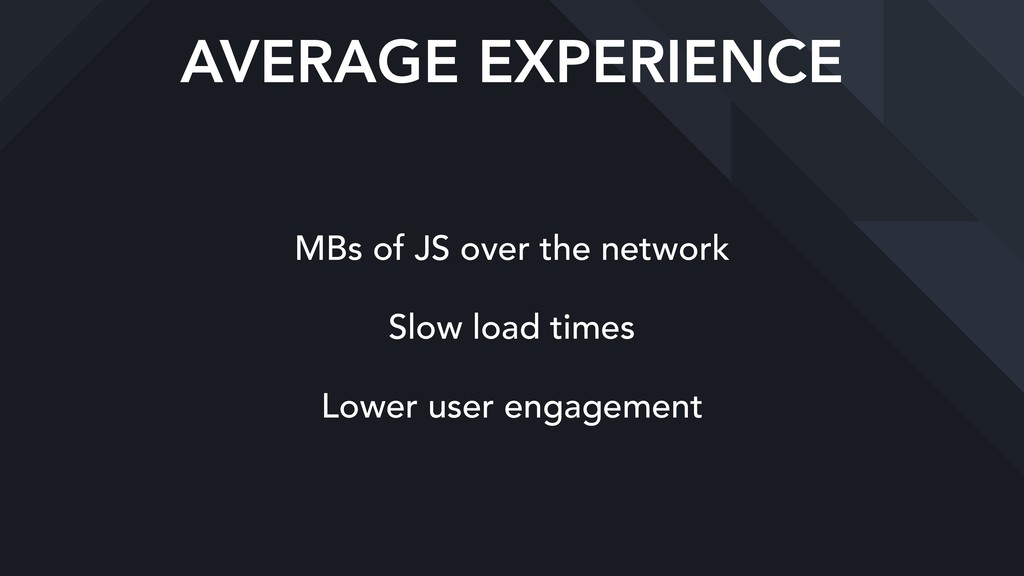 AVERAGE EXPERIENCE MBs of JS over the network S...