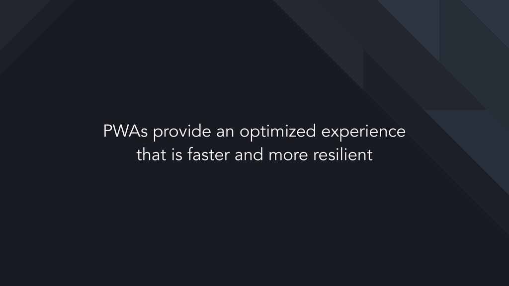 PWAs provide an optimized experience  that is ...