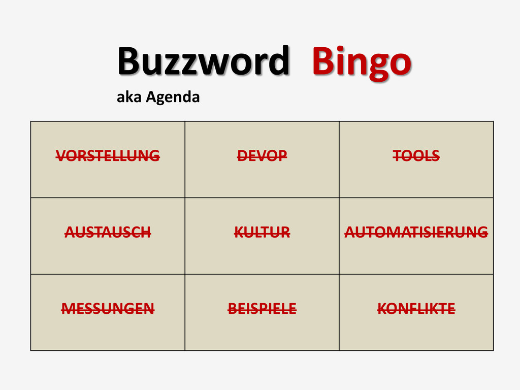 Buzzword Bingo aka Agenda VORSTELLUNG DEVOP TOO...