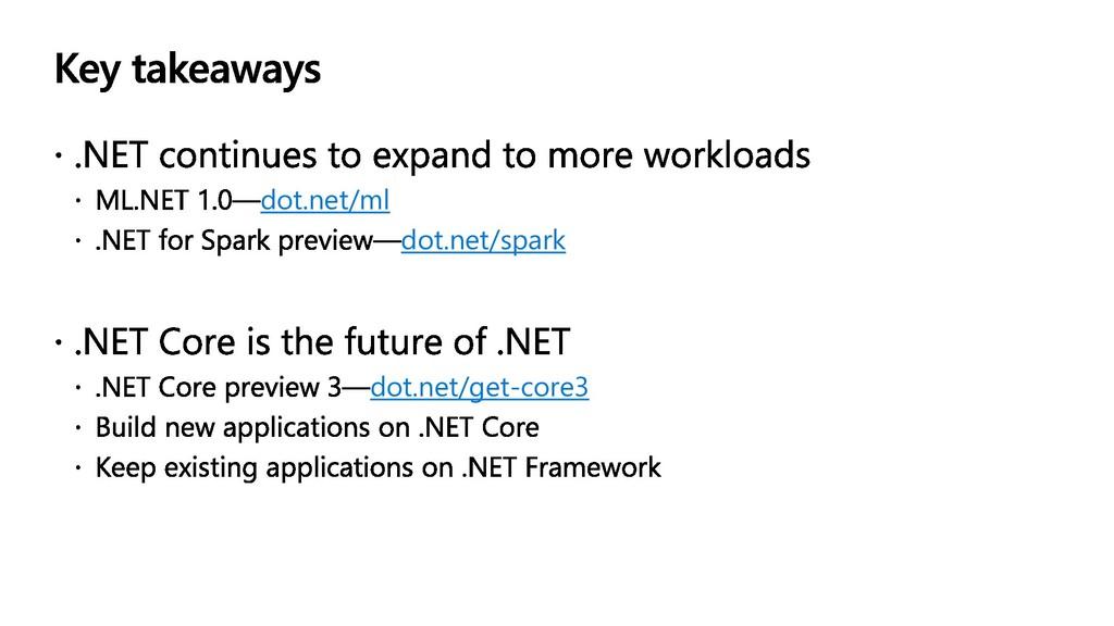 dot.net/ml dot.net/spark dot.net/get-core3