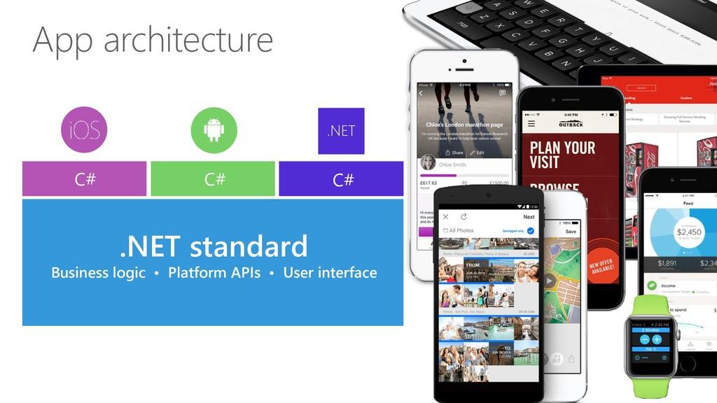 App architecture .NET standard Business logic •...