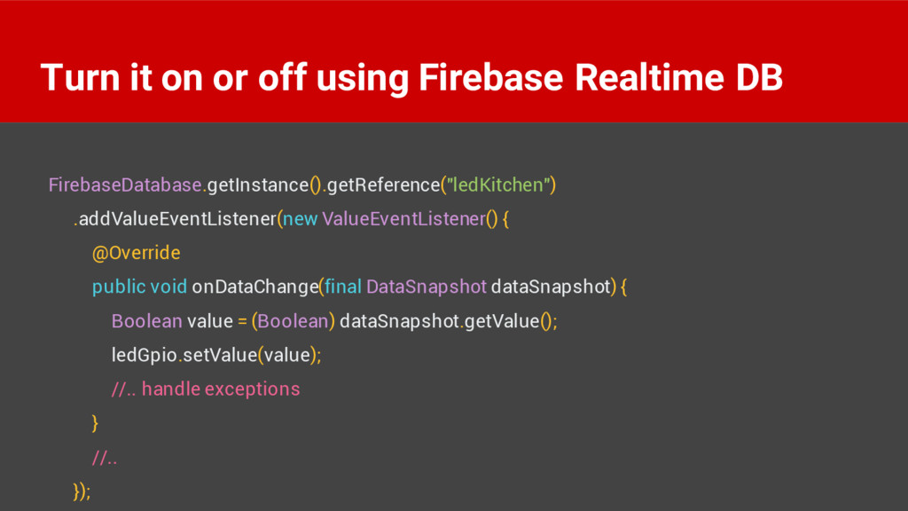Turn it on or off using Firebase Realtime DB Fi...