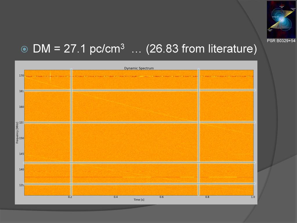 ž DM = 27.1 pc/cm3 … (26.83 from literature) ...
